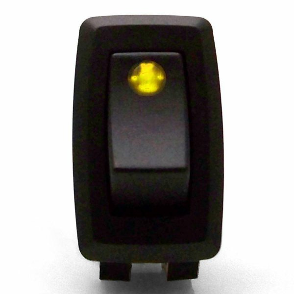 illuminated rocker switch 3 with yellow led 16a 12vdc. Black Bedroom Furniture Sets. Home Design Ideas