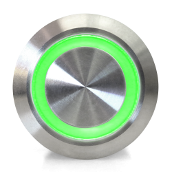Keep It Clean 12564 19mm Momentary Billet Button with Blue or Green LED Ring