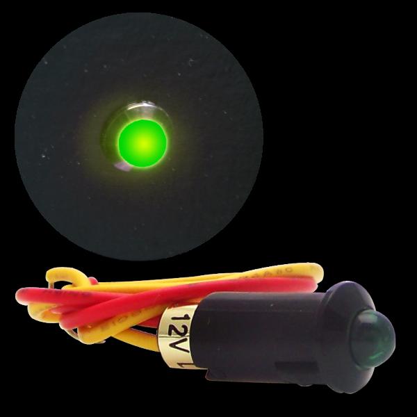 Indicator Light Green 12v Led Black Ring Dash Panel
